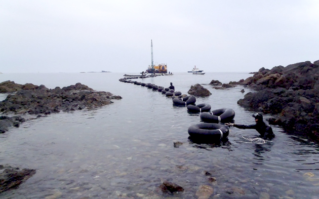 Laying of power cable between Hirashima and Enoshima